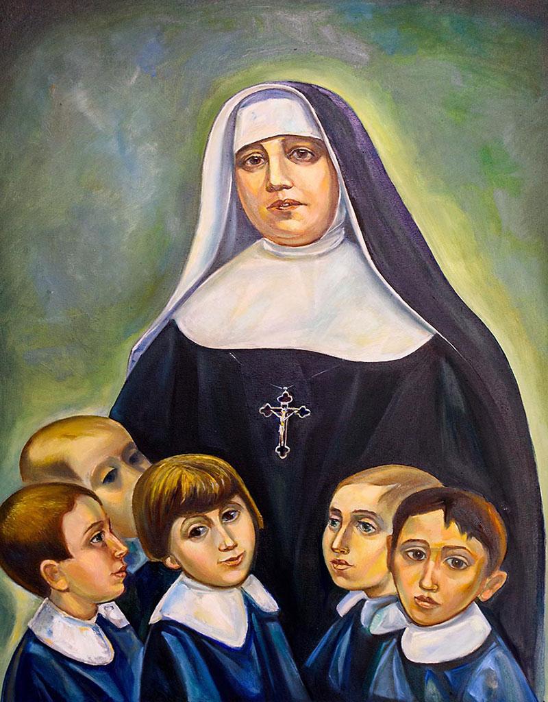 Dipinto raffigurante Maria di Gesù Crocifisso Petković insieme ai suoi scolari